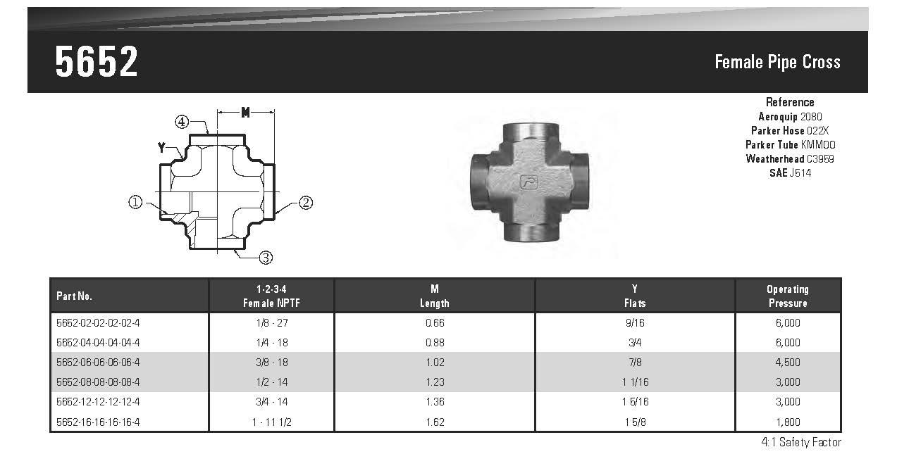 5652-04-04-04-04 Hydraulic Fitting 1//4 Female Pipe X 1//4 Female Pipe X 1//4 Female Pipe X 1//4 Female Pipe Cross